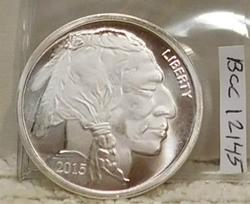 2015 PROOF One Oz Silver Round - Indian/Buffalo