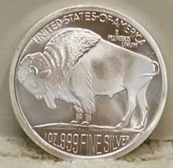 2015 PROOF One Oz Silver Round - Buffalo/Indian