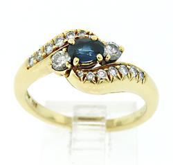Graceful Blue Sapphire & Diamond Bypass Ring