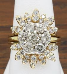 14K Gold Vintage Cocktail Ring with 1.50CTW
