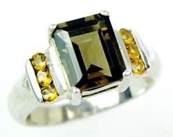 Sterling Ring with Large Smoky Quartz & Citrines