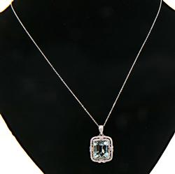 Fabulous Aquamarine & Diamond Pendant Necklace