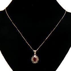 Striking Ruby & Diamond Sunburst Pendant Necklace
