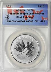 2011 $10 Maple Leaf Forever ANACS SP70 First Release