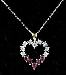 Terrific Open Heart Pendant with Diamonds & Rubies