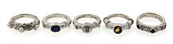Judith Ripka Set of 5 Stacking Rings in Sterling