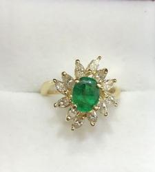 18kt Gold Emerald & Diamond Ring, 3+ Carats!