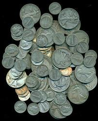Lot of 100 Mercury Dimes & 25 Walking Liberty Halves