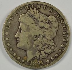 Sharp 1891-CC Morgan Silver Dollar. Key date