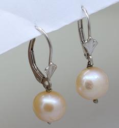 LeverBack 9mm Pearl Earrings, 14K White Gold