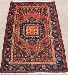 Charming 1950s Handmade Vintage Persian Rug, Signed & Dated