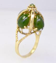 Beautifully Crafted Green Stone Ring in Gold