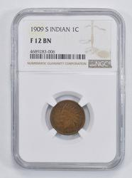 F12BN 1909-S Indian Head Cent - NGC Graded