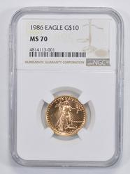 MS70 1986 $10.00 Gold Eagle - NGC Graded