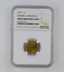 Mint Error MS65RD 1931 Lincoln Wheat Cent - Reverse Lamination - NGC Graded