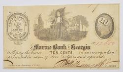 1862 $0.10 Ten Cents Marine Bank of Georgia Note