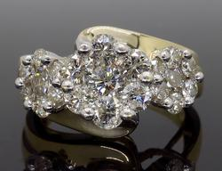 2.00CTW Triple Halo Cluster Diamond Ring
