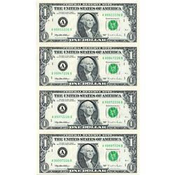 Uncut Currency Sheet 4 x $1 1995 UNC