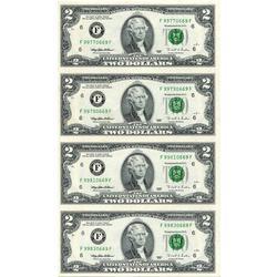 Uncut Currency Sheet 4 x $2 1995 UNC