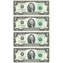 Uncut Currency Sheet 4 x $2 2003 UNC