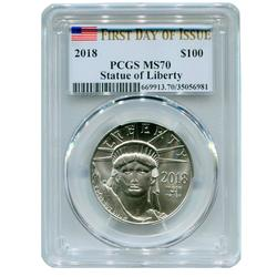 1oz Certified Platinum American Eagle 2018 MS70 PCGS