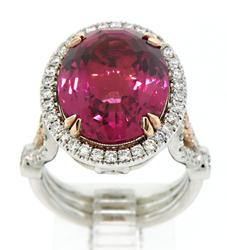 Spectacular Tourmaline & Diamond Cocktail Ring in 18K
