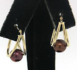Fun Split Hoop Earrings with Pearls