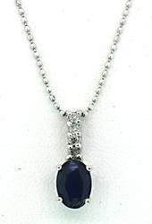 Wonderful Blue Sapphire & Diamond Pendant Necklace