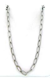 Trendy Textured Oval Link Necklace in 18K