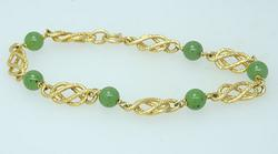 Very Fancy Gold Pattern with Green Beads, 14K