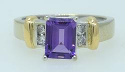 Very Nice Emerald Cut Amethyst & Diamond Ring
