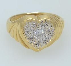 Unique Heart Ring with Diamonds, 14K