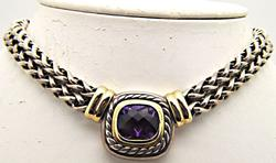 AUTHENTIC DAVID YURMAN STERLING AND GOLD NECKLACE.