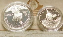 1992 PROOF 2 pc set, Columbus Sil Dollar & Clad Half