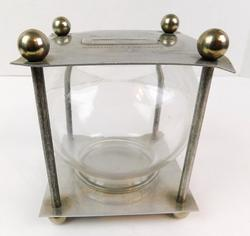 Rare Wm. H. Dietz Metal & Glass Coin Bank