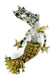 Signed Artisan Mixed Metals Mermaid Pin