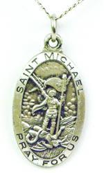 Vintage Sterling St. Michael Medal & Chain