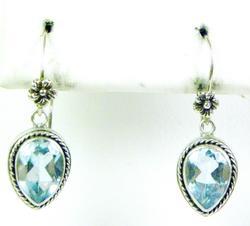 Pretty Sterling Blue Topaz Drop Earrings