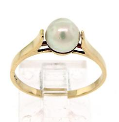 14kt Terrific Pearl Solitaire Ring