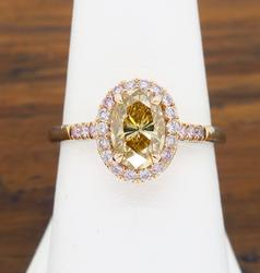 Stunning Colored Diamond Halo Ring