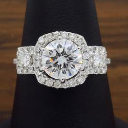 18K White Gold GIA Certified Triple Halo Diamond Ring