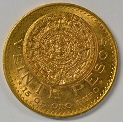 Scarce Choice BU 1919 Mexico 20 Pesos Gold