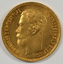 Lustrous BU 1902 Russia 5 Roubles Gold Piece. Nice