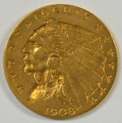 Lovely first-year 1908 US $2.50 Indian Gold Piece