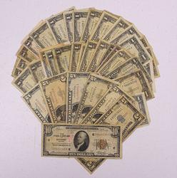 Esate Lot of Currency, Red Seal, Silver Cert, FRBN