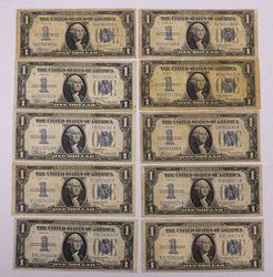 10 x 1934 Funnyback Silver Certs