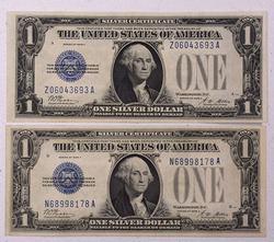 2 x Crisp XF/AU $1 Silver Certs, 1928A