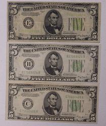 1934, A, & B $5 FRN's Richmond, Circ