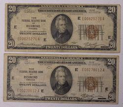 2 x $20 Richmond FRBN Notes, Circ