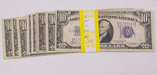 10 x $10 Silver Certs, 1934, A,C, 1953, A,B